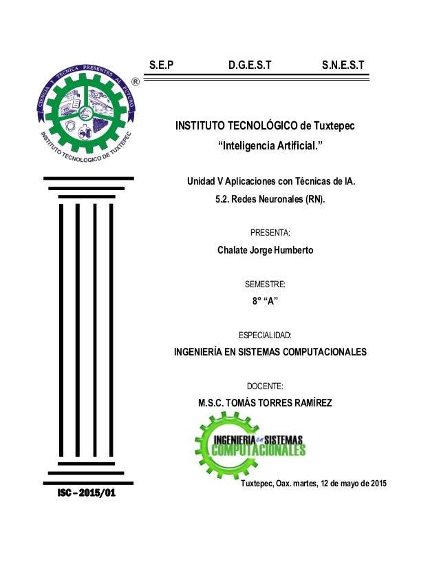 """INSTITUTO TECNOLÓGICO de Tuxtepec """"Inteligencia Artificial."""" Unidad V Aplicaciones con Técnicas de IA. 5.2. Redes Neuronal..."""