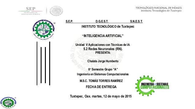 """Unidad V Aplicaciones con Técnicas de IA. 5.2 Redes Neuronales (RN). """"INTELIGENCIA ARTIFICIAL"""" Ingeniería en Sistemas Comp..."""