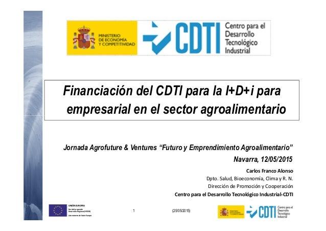 Financiación del CDTI para la I+D+i para empresarial en el sector agroalimentario 1 (25/05/2015) UNIÓN EUROPEA Fondo Europ...