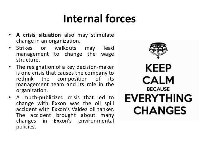internal external forces for change Forces for change there are a number of factors both internal and external which affect organizational functioning any change in these factors necessitates change in an organization the more important factors are as follows : a external forces external environment affects the organizations both directly and indirectly.