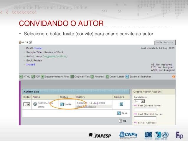 CONVIDANDO O AUTOR • Selecione o botão Invite (convite) para criar o convite ao autor