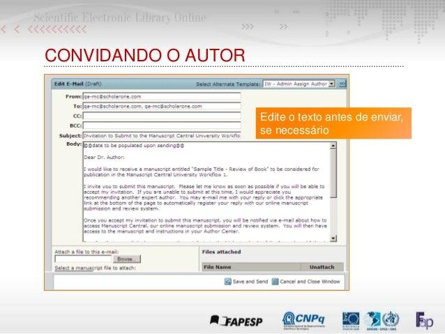 Edite o texto antes de enviar, se necessário CONVIDANDO O AUTOR