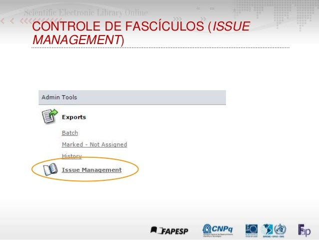 CONTROLE DE FASCÍCULOS (ISSUE MANAGEMENT)