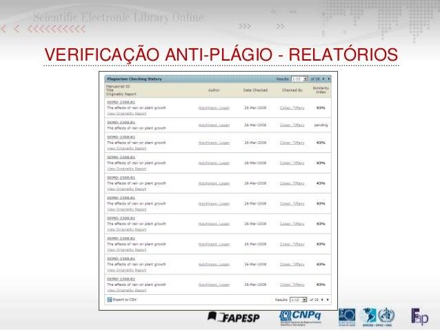 VERIFICAÇÃO ANTI-PLÁGIO - RELATÓRIOS