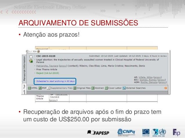 ARQUIVAMENTO DE SUBMISSÕES • Atenção aos prazos! • Recuperação de arquivos após o fim do prazo tem um custo de US$250.00 p...