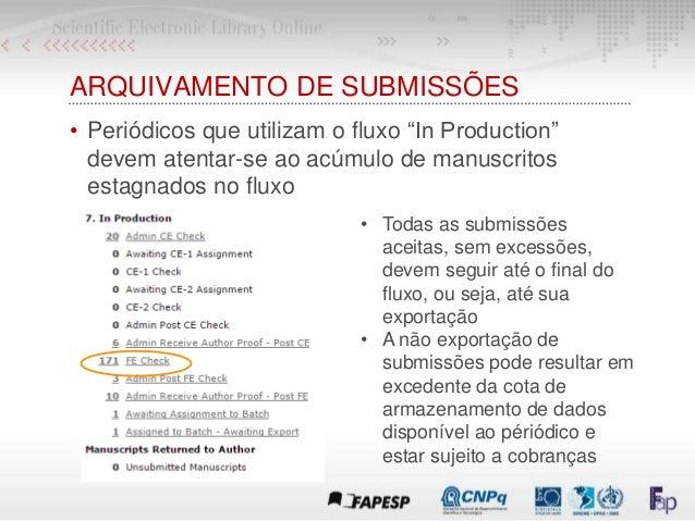 """ARQUIVAMENTO DE SUBMISSÕES • Periódicos que utilizam o fluxo """"In Production"""" devem atentar-se ao acúmulo de manuscritos es..."""