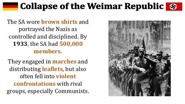 the collapse of the weimar and Our teacher always makes us do a pre-test before any lesson we begin and i really cant find this answer anywhere please list some of the causes to the fall of the weimar republic and what it actually was i'm kind of confused on it please provide an answer that actually explains it.