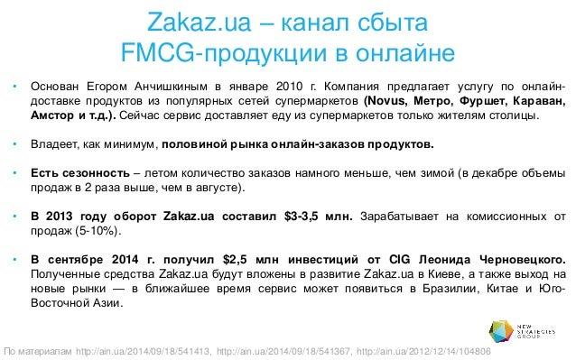 Zakaz.ua – канал сбыта FMCG-продукции в онлайне • Основан Егором Анчишкиным в январе 2010 г. Компания предлагает услугу по...