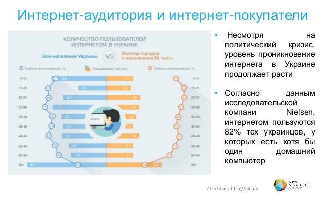 Интернет-аудитория и интернет-покупатели • Несмотря на политический кризис, уровень проникновение интернета в Украине прод...