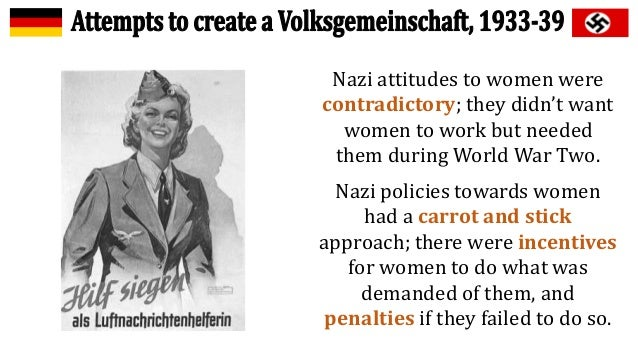 nazi policies Nazi economic policies gave full employment (work programmes/ strength through joy), prosperity and financial security - many observers.