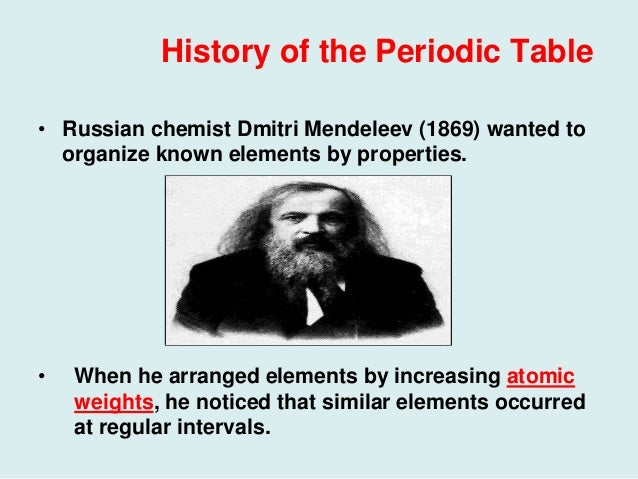 56 history of the periodic table 2 history of the periodic table russian chemist dmitri mendeleev 1869 wanted to organize known elements urtaz Gallery