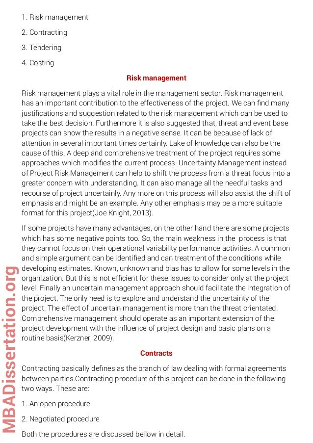 project management failure dissertation A thesis submitted in partial fulfillment of the requirements for the  projects  and not to increase the volume of project, make sure that top management.