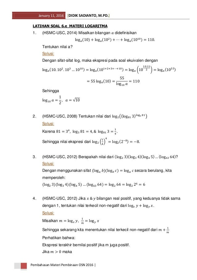 Soal Dan Pembahasan Materi Logaritma
