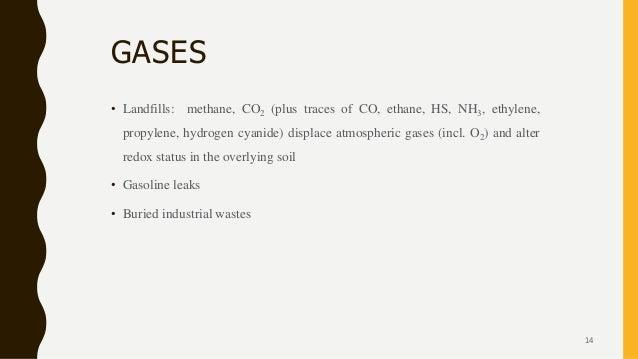 GASES • Landfills: methane, CO2 (plus traces of CO, ethane, HS, NH3, ethylene, propylene, hydrogen cyanide) displace atmos...