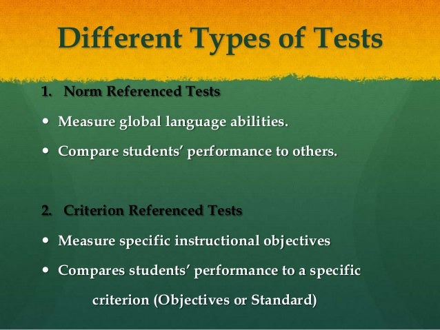norm referenced vs criterion referenced tests