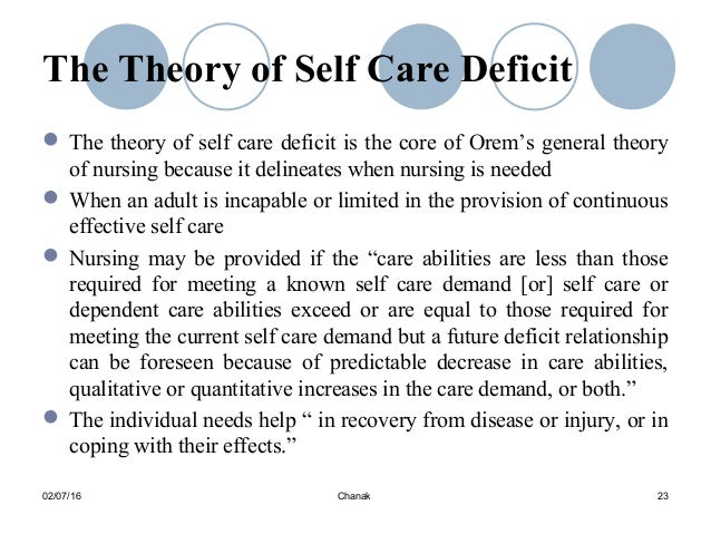 self care deficit definition