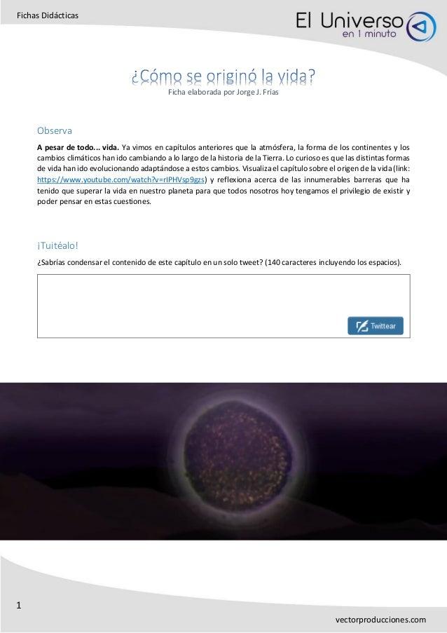 1 Fichas Didácticas vectorproducciones.com Ficha elaborada por Jorge J. Frías Observa A pesar de todo... vida. Ya vimos en...