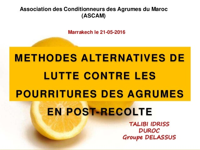 Association des Conditionneurs des Agrumes du Maroc (ASCAM) TALIBI IDRISS DUROC Groupe DELASSUS Marrakech le 21-05-2016 ME...