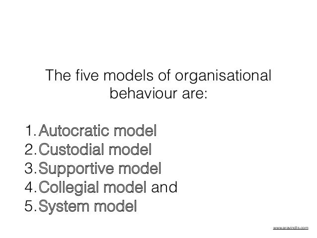 organisational behaviour models Graduate courses in management, organisational behaviour, organisational   23 an integrated model of causes and consequences of job stress 2/6.