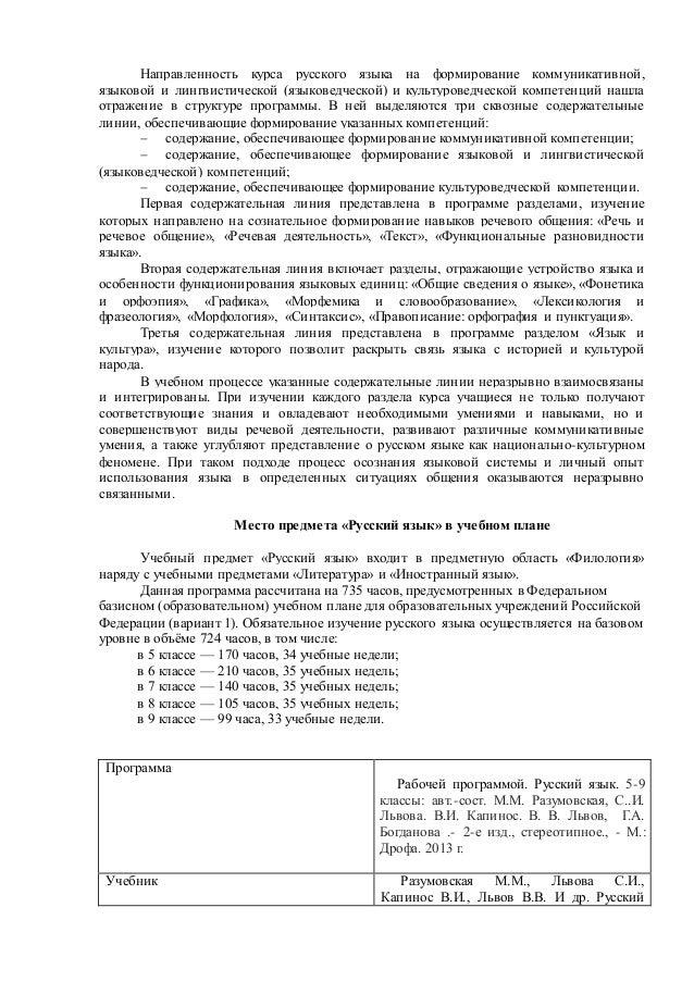 Рабочая программа по русскому языку 5 класс ладыженская 2018 год 170 часа по фгос