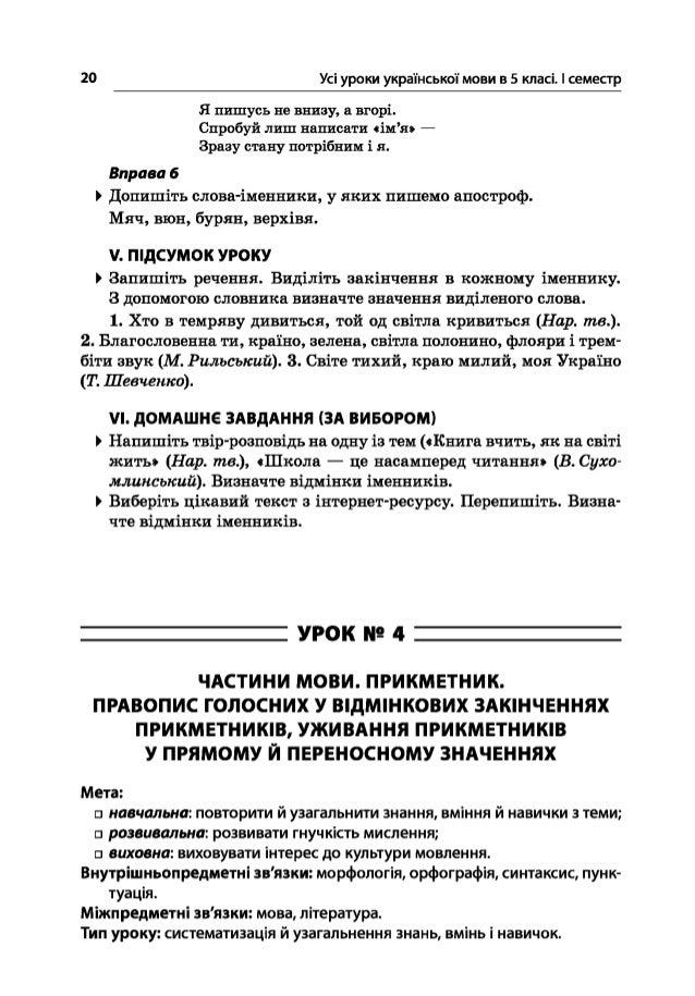 20 Усі уроки української мови в 5 класі. І семестр Я пишусь не внизу, а вгорі. Спробуй лиш написати «ім'я» — Зразу стану п...