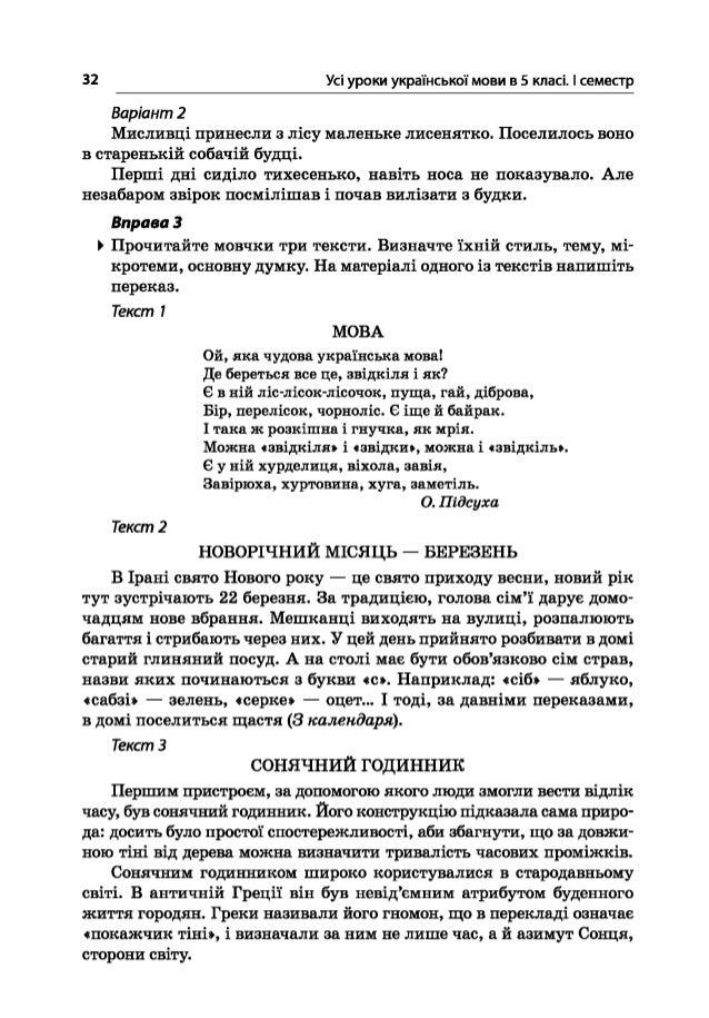 32 Усі уроки української мови в 5 класі. І семестр Варіант 2 Мисливці принесли з лісу маленьке лисенятко. Поселилось воно ...