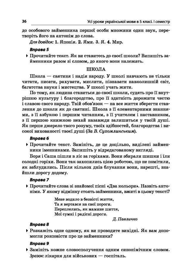 36 Усі уроки української мови в 5 класі. І семестр до особового займенника першої особи множини один звук, пере творіть й...