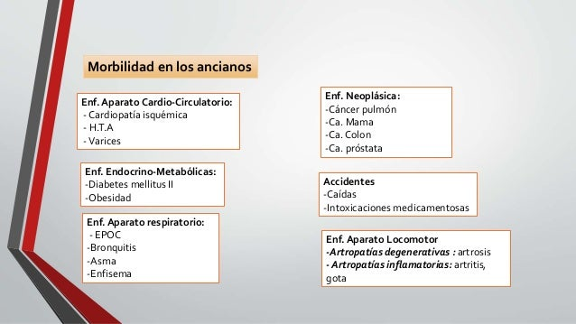 Morbilidad en los ancianos Enf. Aparato Cardio-Circulatorio: - Cardiopatía isquémica - H.T.A -Varices Enf. Endocrino-Metab...