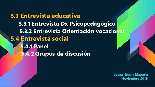 5.3 Entrevista educativa 5.3.1 Entrevista Dx Psicopedagógico 5.3.2 Entrevista Orientación vocacional 5.4 Entrevista social...