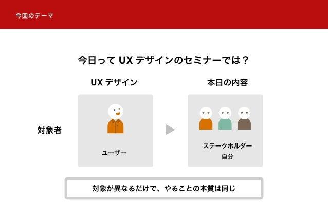 UX デザイン 対象者 本日の内容 ユーザー ステークホルダー 自分 今回のテーマ 今日って UX デザインのセミナーでは? 対象が異なるだけで、やることの本質は同じ