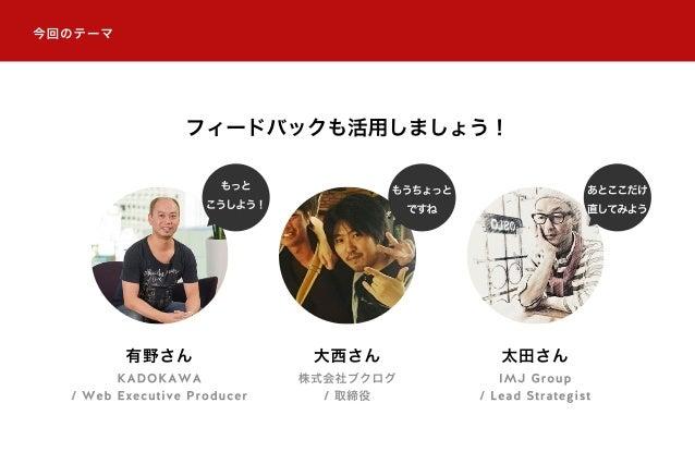 今回のテーマ 有野さん KADOKAWA / Web Executive Producer 大西さん 株式会社ブクログ / 取締役 太田さん IMJ Group / Lead Strategist もっと こうしよう! もうちょっと ですね あ...