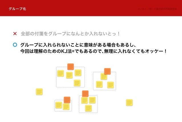 全部の付箋をグループになんとか入れないとっ! グループに入れられないことに意味がある場合もあるし、 今回は理解のためのKJ法®でもあるので、無理に入れなくてもオッケー! グループ化 KJ 法 ®:(株)川喜田研究所商標登録