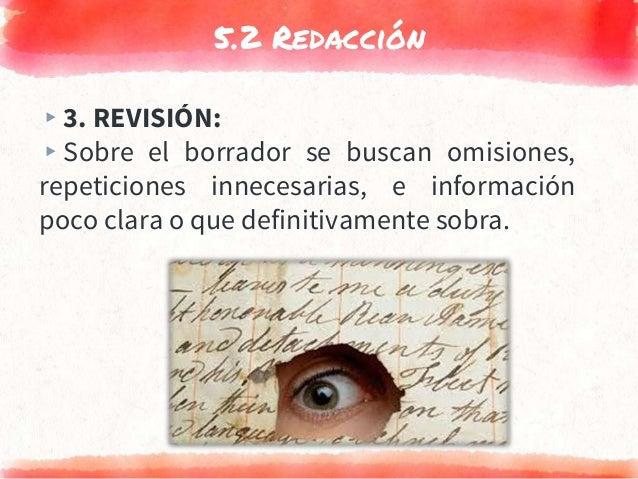 5.2 Redacción ▸3. REVISIÓN: ▸Sobre el borrador se buscan omisiones, repeticiones innecesarias, e información poco clara o ...