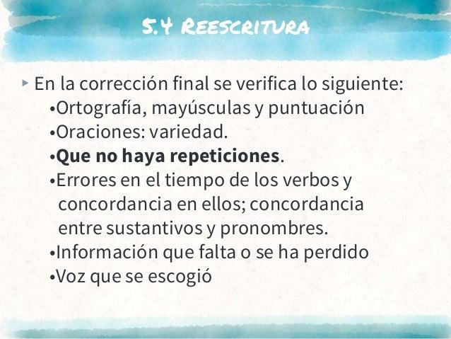 5.4 Reescritura ▸En la corrección final se verifica lo siguiente: •Ortografía, mayúsculas y puntuación •Oraciones: varieda...