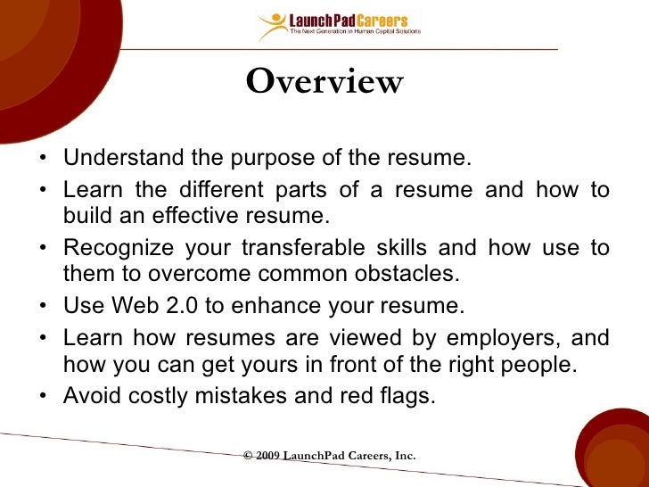 ... LaunchPad Careers; 2. Overview U003culu003eu003cliu003eUnderstand The Purpose Of The  Resume.