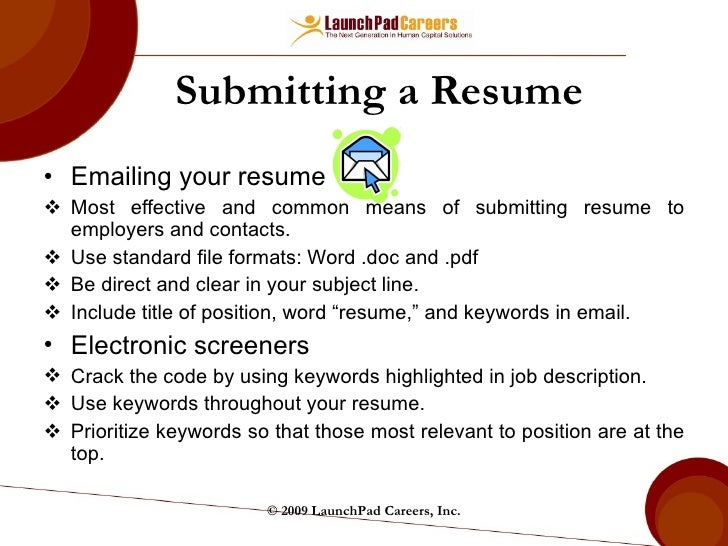 ... 36. Submitting A Resume ...  Resume Subject Line