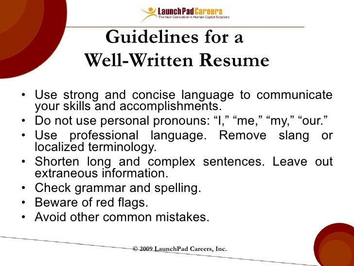 Guidelines For A Well Written Resume ...