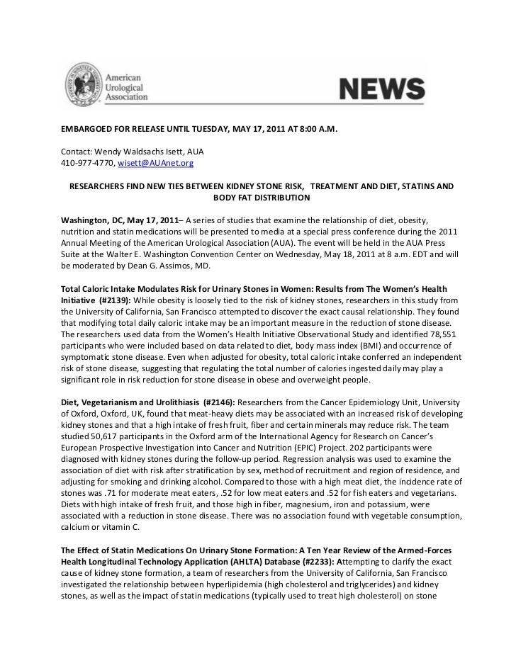 EMBARGOED FOR RELEASE UNTIL TUESDAY, MAY 17, 2011 AT 8:00 A.M.Contact: Wendy Waldsachs Isett, AUA410-977-4770, wisett@AUAn...