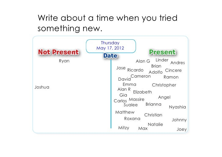 Write about a time when you tried something new.                 Thursday                May 17, 2012         Ryan        ...
