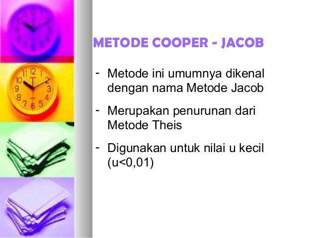 METODE COOPER - JACOB - Metode ini umumnya dikenal dengan nama Metode Jacob - Merupakan penurunan dari Metode Theis - Digu...
