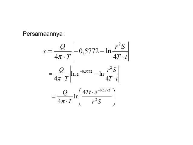 Persamaannya : tT Sr T Q s ⋅ −− ⋅ = 4 ln5772,0 4 2 π tT Sr e T Q ⋅ − ⋅ = − 4 lnln 4 2 5772,0 π       ⋅ ⋅ = − Sr eT...