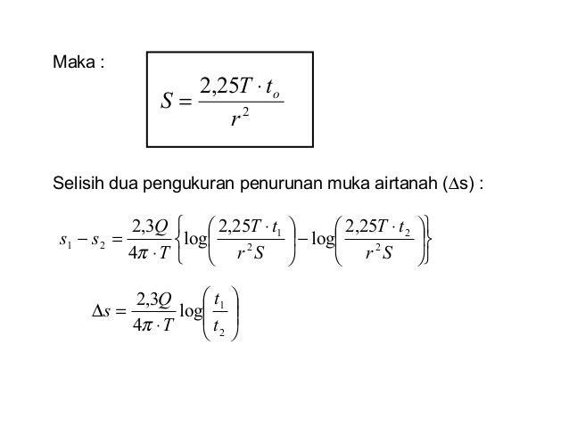 Maka : 2 25,2 r tT S o⋅ = Selisih dua pengukuran penurunan muka airtanah (∆s) :             ⋅ −      ⋅ ⋅...