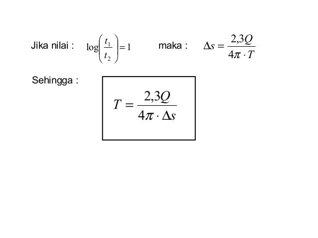 Jika nilai : maka :1log 2 1 =      t t T Q s ⋅ =∆ π4 3,2 Sehingga : s Q T ∆⋅ = π4 3,2