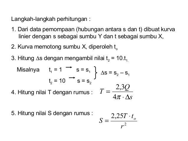 Langkah-langkah perhitungan : 1. Dari data pemompaan (hubungan antara s dan t) dibuat kurva linier dengan s sebagai sumbu ...
