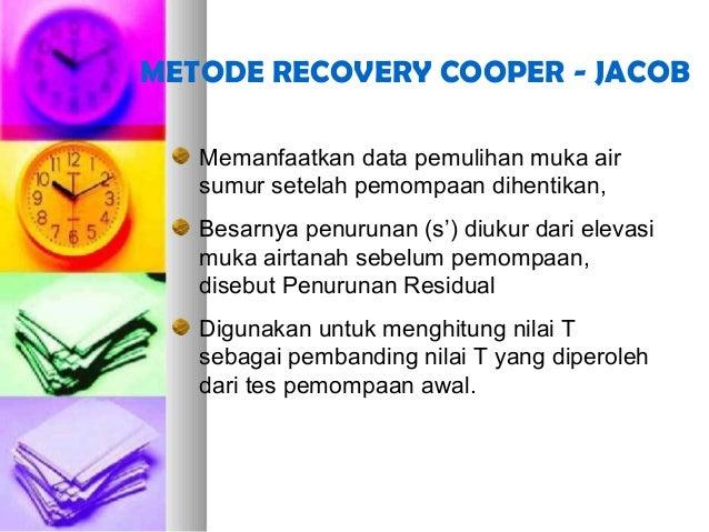 METODE RECOVERY COOPER - JACOB Memanfaatkan data pemulihan muka air sumur setelah pemompaan dihentikan, Besarnya penurunan...