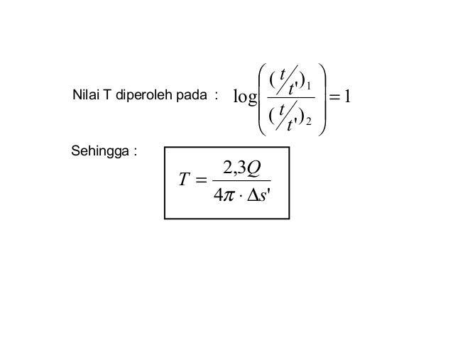 Nilai T diperoleh pada : Sehingga : 1 ) ' ( ) ' ( log 2 1 =         t t t t '4 3,2 s Q T ∆⋅ = π
