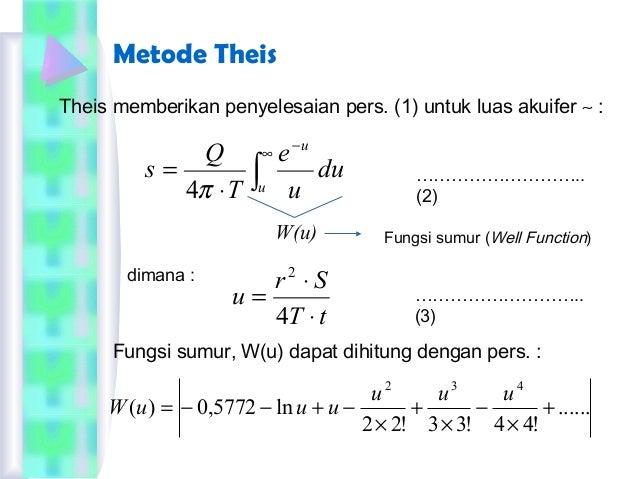 Metode Theis ...... !44!33!22 ln5772,0)( 432 + × − × + × −+−−= uuu uuuW Theis memberikan penyelesaian pers. (1) untuk luas...