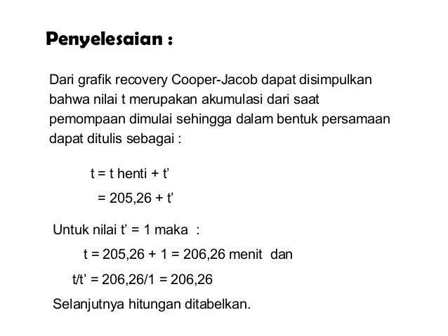 t = t henti + t' = 205,26 + t' Dari grafik recovery Cooper-Jacob dapat disimpulkan bahwa nilai t merupakan akumulasi dari ...