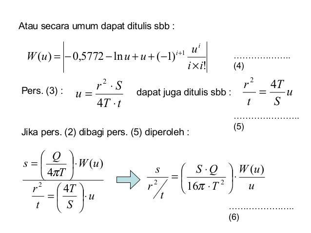 Atau secara umum dapat ditulis sbb : ! )1(ln5772,0)( 1 ii u uuuW i i × −++−−= + ……………….. (4) Pers. (3) : tT Sr u ⋅ ⋅ = 4 2...