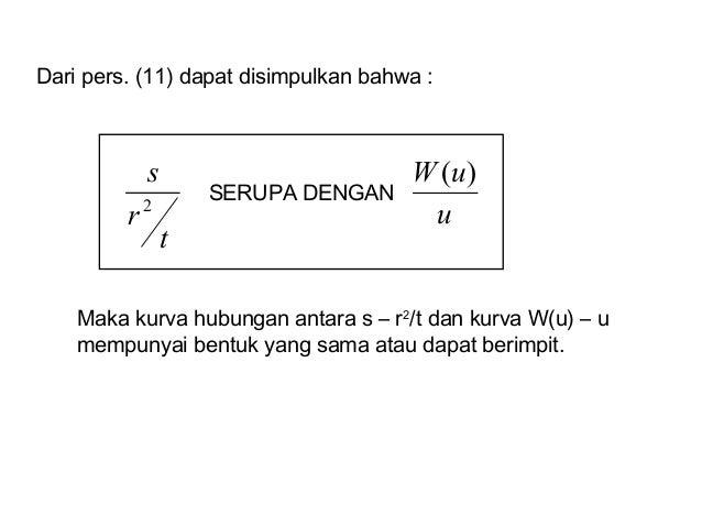 Dari pers. (11) dapat disimpulkan bahwa : t r s 2 u uW )( SERUPA DENGAN Maka kurva hubungan antara s – r2 /t dan kurva W(u...
